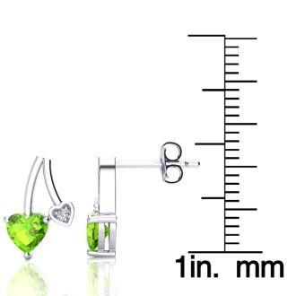3/4ct Peridot and Diamond Heart Earrings In 10k White Gold