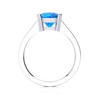 2ct Cushion Cut Blue Topaz and Diamond Ring in 10K White Gold