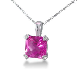 2ct Cushion Pink Topaz and Diamond Pendant in 10k White Gold
