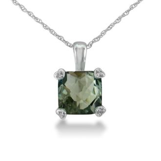 2ct Cushion Green Amethyst and Diamond Pendant in 10k White Gold