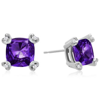 2ct Cushion Amethyst and Diamond Earrings in 10k White Gold