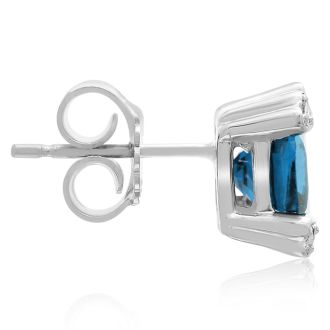 2ct Cushion Blue Topaz and Diamond Earrings in 10k White Gold