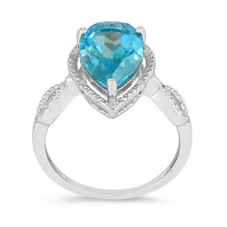 3 1/2ct Pear Shaped Blue Topaz and Diamond Ring in 10k White Gold