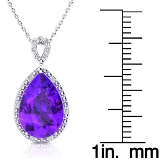 3 1/2ct Pear Shaped Amethyst and Diamond Necklace In 10K White Gold