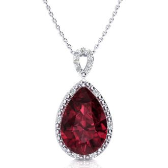 3 1/2ct Pear Shaped Garnet and Diamond Necklace In 10K White Gold