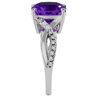 4 Carat Cushion Cut Amethyst and Diamond Ring in 10k White Gold