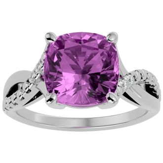 4 Carat Cushion Cut Pink Topaz and Diamond Ring in 10k White Gold