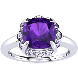 2ct Cushion Cut Amethyst and Diamond Ring in 10k White Gold