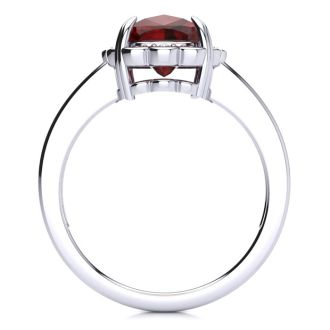 2ct Cushion Cut Garnet and Diamond Ring in 10k White Gold