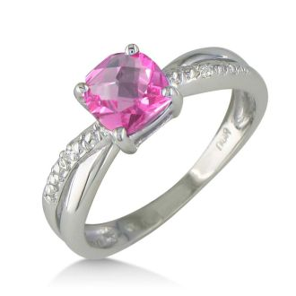 3/4ct Cushion Cut Pink Topaz and Diamond Ring in 10k White Gold