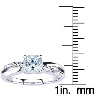 3/4ct Cushion Cut Aquamarine and Diamond Ring in 10k White Gold