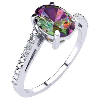 1ct Oval Shape Mystic Topaz and Diamond Ring in 10K White Gold