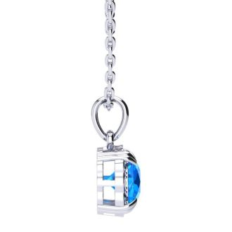 2 1/2ct Cushion Cut Blue Topaz and Diamond Necklace In 10K White Gold