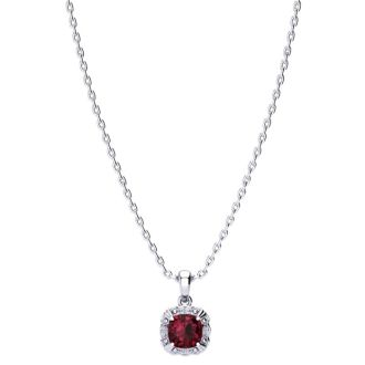 2 1/2ct Cushion Cut Garnet and Diamond Necklace In 10K White Gold