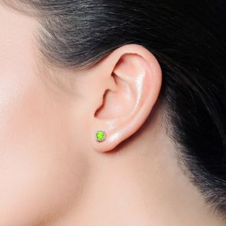 2ct Cushion Cut Peridot and Diamond Earrings in 10k White Gold