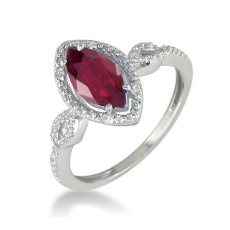 3/4ct Marquise Ruby and Diamond Ring in 10k White Gold, Size 5