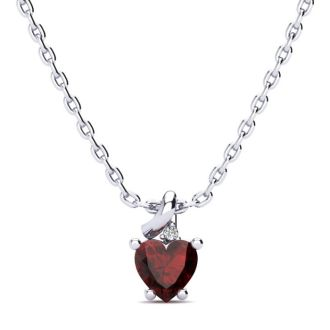 1/2ct Garnet and Diamond Heart Necklace in 10k White Gold