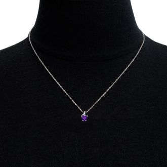 1/2ct Amethyst and Diamond Heart Necklace in 10k White Gold
