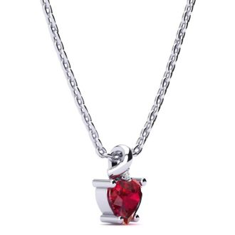 1/2ct Created Ruby and Diamond Heart Necklace in 10k White Gold