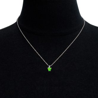 1/2ct Peridot and Diamond Heart Necklace in 10k White Gold