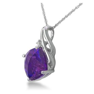 5ct Cushion Cut Amethyst and Diamond Pendant in 10k White Gold
