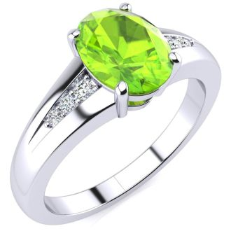 1 1/2ct Oval Shape Peridot and Diamond Ring in 10k White Gold