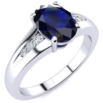 1 2/3ct Oval Shape Sapphire and Diamond Ring in 10k White Gold