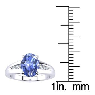 1 1/3ct Oval Shape Tanzanite and Diamond Ring in 10k White Gold