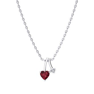 1/2ct Heart Shaped Garnet and Diamond Necklace in 10k White Gold
