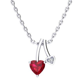 1/2ct Heart Shaped Created Ruby and Diamond Necklace in 10k White Gold