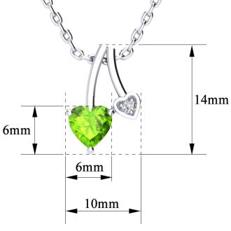 1/2ct Heart Shaped Peridot and Diamond Necklace in 10k White Gold
