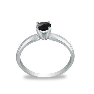 1/2 Carat Black Diamond Solitaire Ring In 10K White Gold