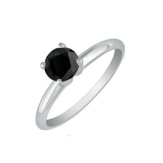 3/4 Carat Black Diamond Solitaire Ring In 10K White Gold