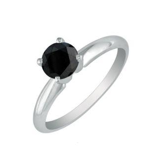 1 1/2 Carat Black Diamond Solitaire Ring in 14K White Gold