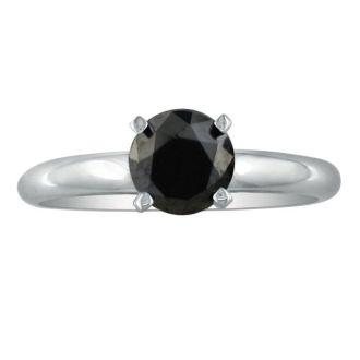 2 Carat Black Diamond Solitaire Ring in 14K White Gold