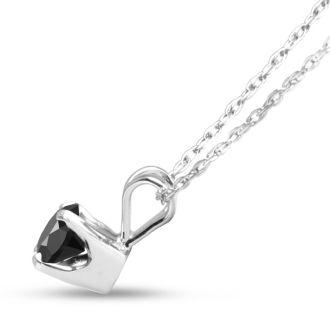 1/4ct Black Diamond Solitaire Pendant in 14k White Gold