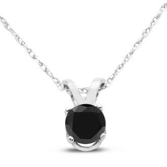 1/3ct Black Diamond Solitaire Pendant in 14k White Gold