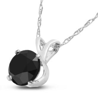3/4ct Black Diamond Solitaire Pendant in 14k White Gold