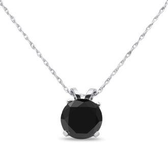 1ct Black Diamond Solitaire Pendant in 14k White Gold