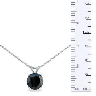1 1/2ct Black Diamond Solitaire Pendant in 14k White Gold