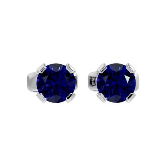 0.60 Carat Blue Sapphire Stud Earrings in White Gold
