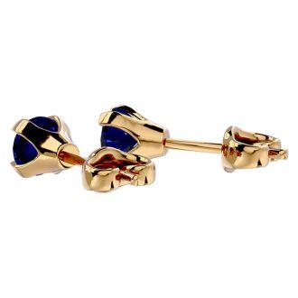 0.60 Carat Blue Sapphire Stud Earrings in Yellow Gold