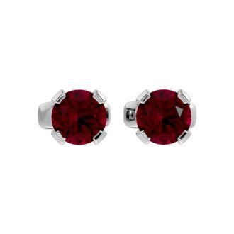 0.60 Carat Ruby Stud Earrings in White Gold