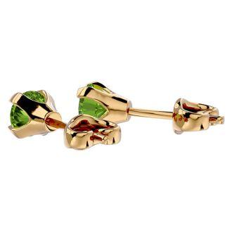 1/2 Carat Peridot Stud Earrings in Yellow Gold