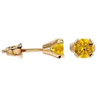 0.60 Carat Citrine Stud Earrings in Yellow Gold