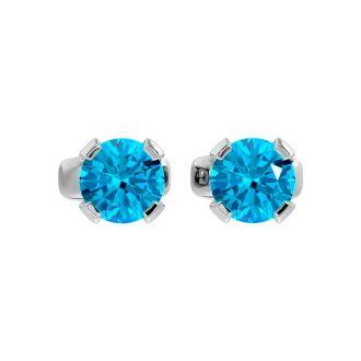 0.60 Carat Blue Topaz Stud Earrings in White Gold