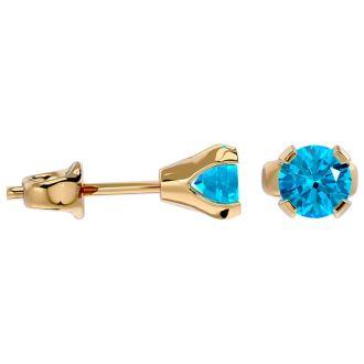 0.60 Carat Blue Topaz Stud Earrings in Yellow Gold