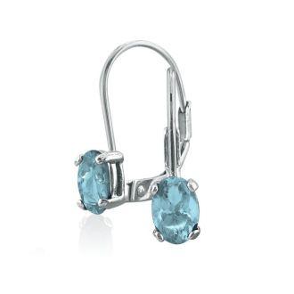 1 Carat Oval Shape Aquamarine Leverback Earrings In 14 Karat White Gold
