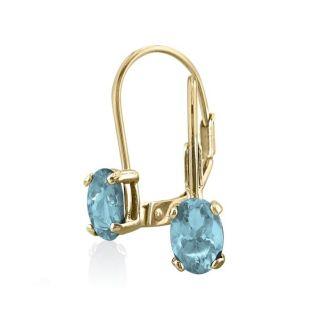1 Carat Oval Shape Aquamarine Leverback Earrings In 14 Karat Yellow Gold