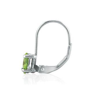 1 Carat Oval Shape Peridot Leverback Earrings In 14 Karat White Gold